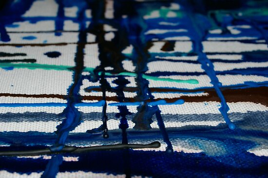 Blue River - melted wax crayon on canvas heat experiment: Youtube video demo by CDCcreative