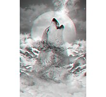 Maybe the Wolf Is In Love with the Moon v.2 (Actual 3D Effect) Photographic Print