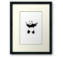 Bansky Panda - Plain Stencil Art White Framed Print