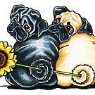 Sunny Pugs by offleashart