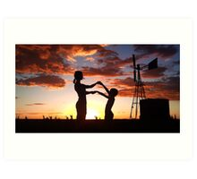 Silhouette Playing... Free State, South Africa  Art Print