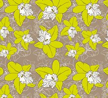 floral pattern fantasy blooming green white orchids on brown background.  by EkaterinaP