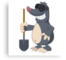 Funny cartoon mole Canvas Print