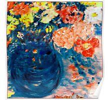 Romance Flowers in Blue Vase Designer Art Decor & Gifts Poster