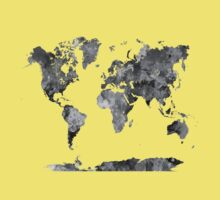 World map in watercolor gray Kids Clothes