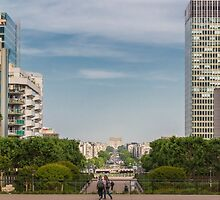 Arc de Triomphe from La Defense, Paris, France by Elaine Teague