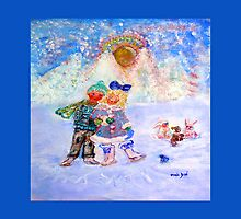 Skaters in Love Decor & Gift by Marie-Jose Pappas Blue by innocentorigina