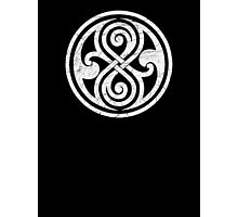 Seal of Rassilon - Classic Doctor Who - White on Black (Distressed) Photographic Print
