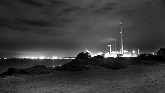 Kwinana Power Station At Night (B&amp;W)  by EOS20