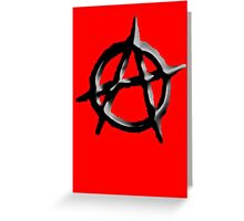 ANARCHY, Revolution, Protest, Disorder, Unrest, Symbol on red in black Greeting Card