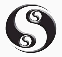 YIN YANG twist, Chinese, Martial Arts Symbol, Black on White by TOM HILL - Designer