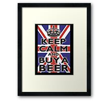 UNION JACK, FLAG, KEEP CALM & BUY A BEER, UK, ON BLACK Framed Print