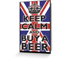 UNION JACK, FLAG, KEEP CALM & BUY A BEER, UK Greeting Card