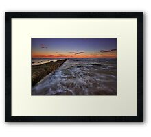 Bar Beach Breakwall at Dusk Framed Print