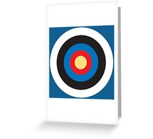 BULLS EYE, Right on target, small, on Blue Greeting Card