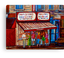 PAINTINGS OF MONTREAL STREETS SCHWARTZ'S HEBREW DELI Canvas Print