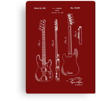 Fender Bass Guitar Patent-1953 Canvas Print