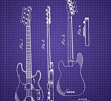 Fender Bass Guitar Patent-1953-Blueprint by Barry  Jones