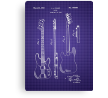 Fender Bass Guitar Patent-1953-Blueprint Canvas Print
