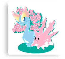 Corsola and Amaura in Spring Canvas Print