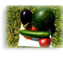Home Grown Garden Veggies and Fruit Canvas Print