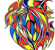 Red Yellow and BLue Abstract Design by Adri Turner