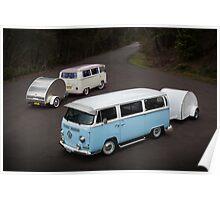 Twin Kombis with Teardrop Caravans Poster