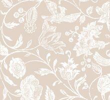 Tan Vintage Inspired Floral Pattern by phantomprint