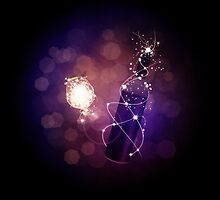 Glowing wine bottle and glass by AnnArtshock