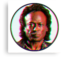 Miles Davis in a funky circuar shape Canvas Print