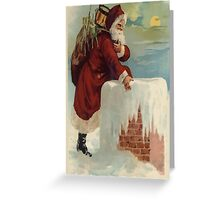 Santa Stepping Into A Chimney With Gifts Greeting Card