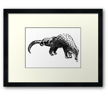 pangolin with baby on back Framed Print