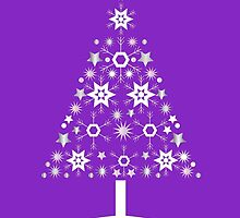 Christmas Tree Made Of Snowflakes On Violet Background by taiche