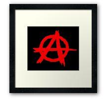 ANARCHY SYMBOL (RED ON BLACK) Framed Print