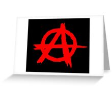 ANARCHY SYMBOL (RED ON BLACK) Greeting Card