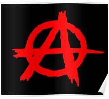 ANARCHY SYMBOL (RED ON BLACK) Poster