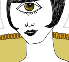 Cyclops Louise Brooks as Egyptian Valkyrie with All-Seeing Eye Sticker