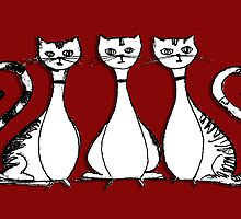 3 Cats (on red) by maiboo