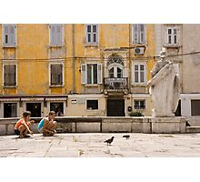 Kids Amongst The Pigeons Photographic Print