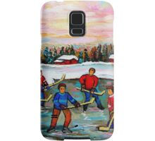 HOCKEY ART OF CANADA PAINTINGS OF POND HOCKEY CAROLE SPANDAU Samsung Galaxy Case/Skin