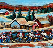 CANADIAN WINTER SCENES POND HOCKEY PAINTINGS COUNTRY SCENES CAROLE SPANDAU by Carole  Spandau