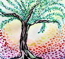Watercolour Olive Tree by TellyBean