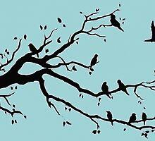 """Birds on a Branch in Blue"", acrylic/digital artwork by Alison Newth"