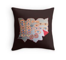 Eyes peering from behind the shield Throw Pillow