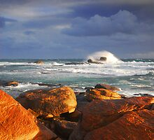Stormy Sunset Crashing Wave by autumnleaf