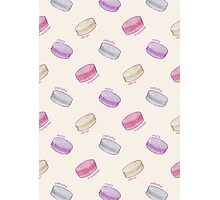 French Macaron Pattern - raspberry, pistachio, lemon & blueberry Photographic Print