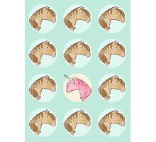 Be Yourself - Unicorn Pattern on Mint Photographic Print