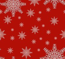 Seamless pattern with snowflakes on red background. drawing hands by Ann-Julia