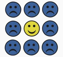 Happy Smiley in a Crowd of Unhappy Faces by sweetsixty
