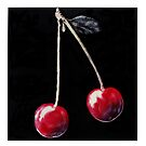 Red cherries on stalk. by nitrams